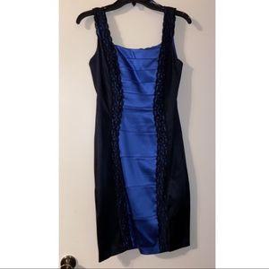 JAX Blue Satin Black Lace Bress